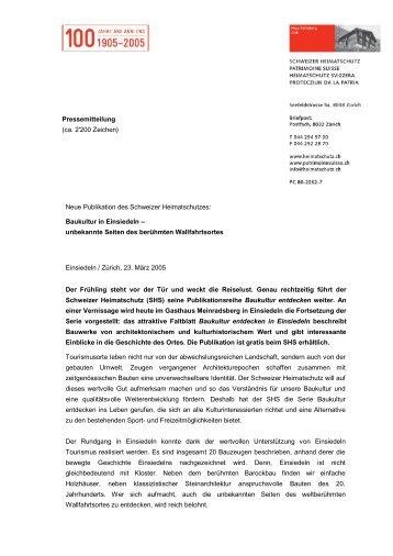 Baukultur in Einsiedeln - Schweizer Heimatschutz