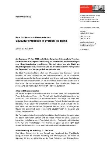 Baukultur entdecken in Yverdon-les-Bains - Schweizer Heimatschutz