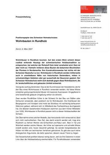 Wohnbauten in Rundholz - Schweizer Heimatschutz