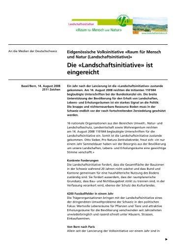 Die «Landschaftsinitiative» ist eingereicht - Schweizer Heimatschutz