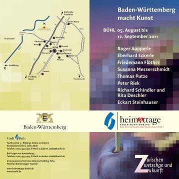 Flyer Baden-Württemberg macht Kunst - Heimattage Buehl