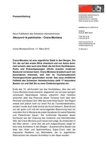 Découvrir le patrimoine – Crans-Montana - Schweizer Heimatschutz