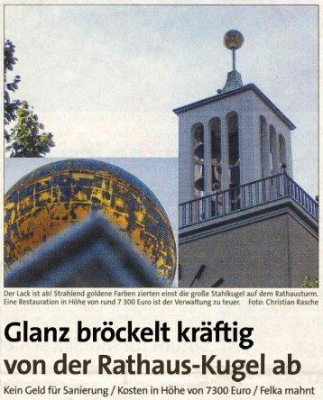 Glanz bröckelt kräftig von der Rathaus-Kugel ab - Heimatverein ...
