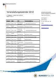 Veranstaltungskalender 2 Halbjahr 2012 EB N - Bundespolizei