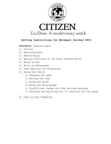 Setting Instructions For Movement Caliber 0850 Citizen Watch
