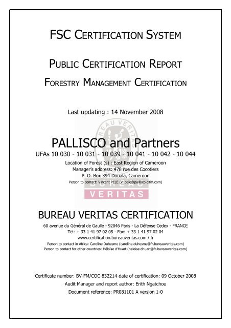 Description Of Forestry Management Bureau Veritas France