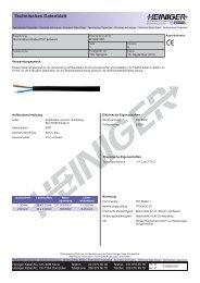Technisches Datenblatt - Heiniger Kabel AG