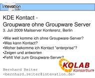 KDE Kontact Groupware ohne Groupware Server - Intevation
