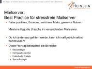 Mailserver: Best Practice für stressfreie Mailserver - Heinlein