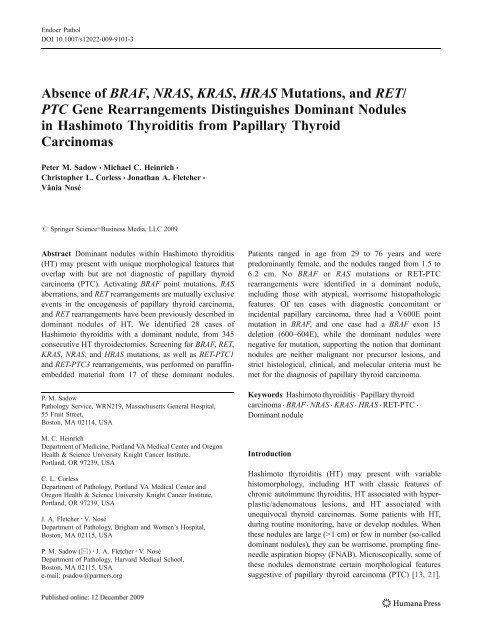 Absence of BRAF, NRAS, KRAS, HRAS Mutations, and RET/ PTC ...