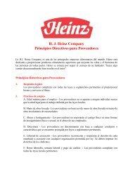 H. J. Heinz Company Principios Directivos para Proveedores