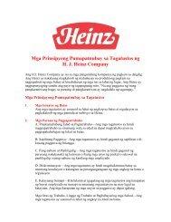 Mga Prinsipyong Pumapatnubay sa Tagatustos ng HJ Heinz Company