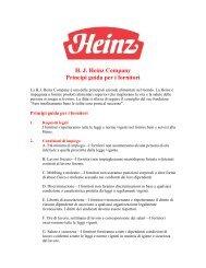 H. J. Heinz Company Principi guida per i fornitori