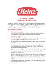 H. J. Heinz Company Richtlinien für Lieferanten
