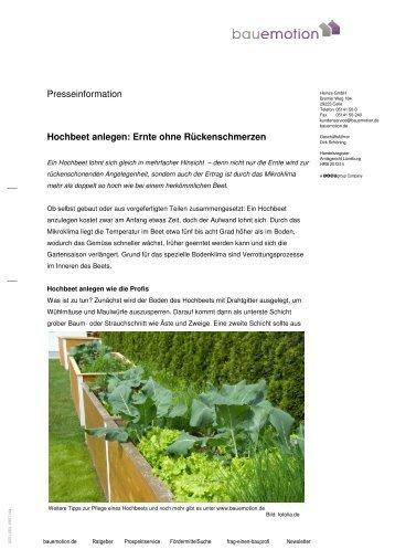 Presseinformation Hochbeet anlegen: Ernte ohne ... - Heinze GmbH