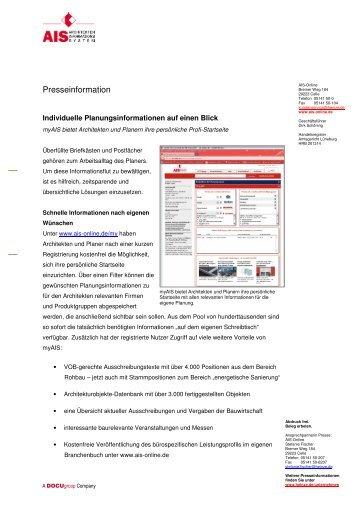 Individuelle Planungsinformationen auf einen Blick