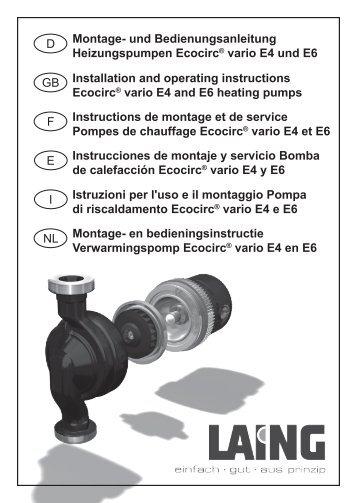 Montage- und Bedienungsanleitung Heizungspumpen Ecocirc ...