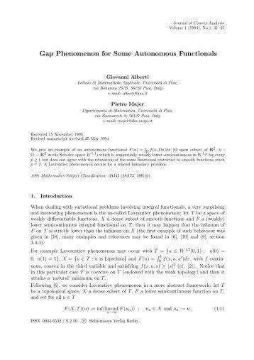 Gap Phenomenon for Some Autonomous Functionals - Heldermann ...