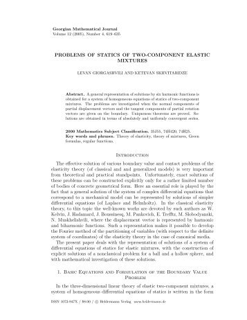 PROBLEMS OF STATICS OF TWO-COMPONENT ELASTIC ...