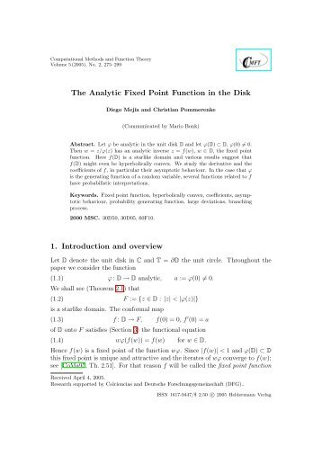 The Analytic Fixed Point Function in the Disk - Heldermann-Verlag