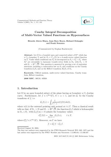 Cauchy Integral Decomposition of Multi-Vector Valued Functions on ...