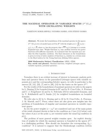 THE MAXIMAL OPERATOR IN VARIABLE SPACES Lp(·)(Ω,ρ) WITH ...