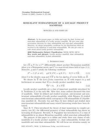 SEMI-SLANT SUBMANIFOLDS OF A LOCALLY PRODUCT ...