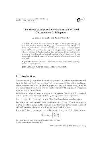 The Wronski map and Grassmannians of Real Codimension 2 ...