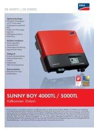 SUNNY BOY 4000TL / 5000TL - Vollkommen. Einfach. - Startec