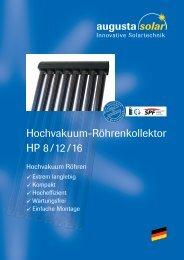 Hochvakuum-Röhrenkollektor HP 8 /12 /16 - Helion Solar