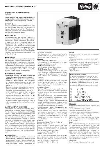 Elektronischer Drehzahlsteller ESD - HELIOS Ventilatoren