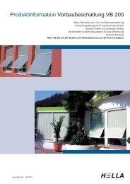 Produktinformation Vorbaubeschattung VB 200 - Hella Sonnen