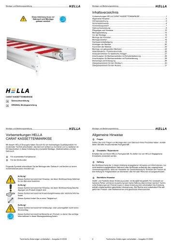 Inhaltsverzeichnis Vorbemerkungen HELLA CARAT ... - Hella Specht