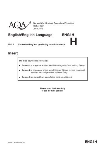 Understanding and producing non-fiction texts - AQA