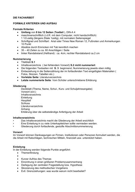 Die Facharbeit Formale Kriterien Und Aufbau Formale