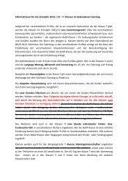 Informationen für das Schuljahr 2012 / 13 – 7. Klassen im ...