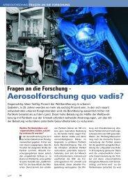 Fragen an die Forschung - Aerosolforschung quo vadis?
