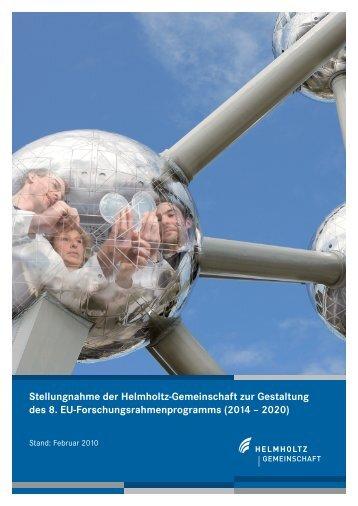 Stellungnahme der Helmholtz-Gemeinschaft zur Gestaltung des 8 ...