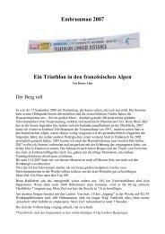 Embrunman 2007 Ein Triathlon in den ... - Sportwelt Verlag