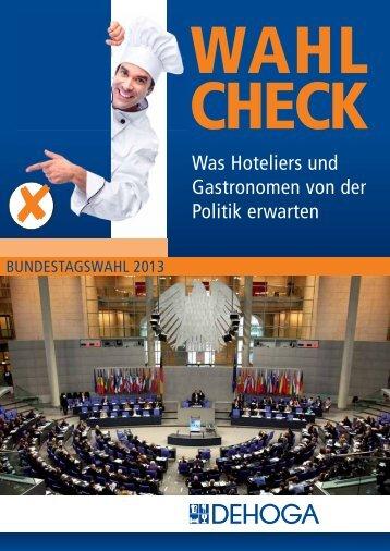 Wahlcheckliste zur Bundestagswahl 2013 - DEHOGA Niedersachsen