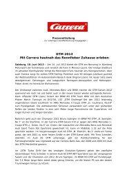 DTM 2013 Mit Carrera hautnah das Rennfieber Zuhause erleben