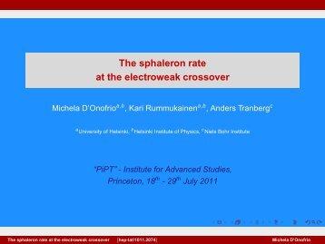 The sphaleron rate at the electroweak crossover - Helsinki.fi