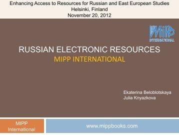 Presentation Russian Electronic Resources (PDF) - Helsinki.fi