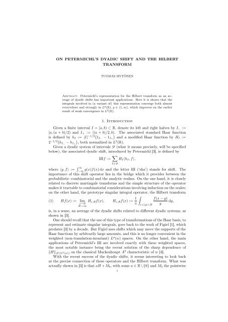 On Petermichl's dyadic shift and the Hilbert transform - Helsinki.fi