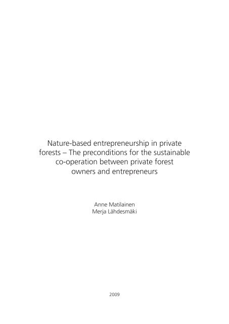 Nature-based entrepreneurship in private forests – The ... - Helsinki.fi