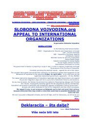 SLOBODNA VOJVODINA.org APPEAL TO INTERNATIONAL ...