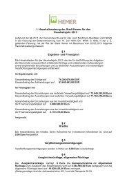 I. Haushaltssatzung der Stadt Hemer für das Haushaltsjahr 2013 § 1 ...