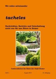 Augustausgabe von Tacheles ist online - Hemer