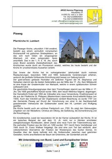 Pfarrkirche hl. Lambert mit frühgotischem Karner in Pisweg - Hemma ...