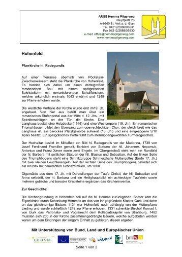 Pfarrkirche Hohenfeld - Hemma Pilgerweg
